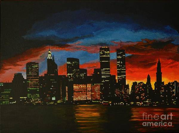 Landscape Poster featuring the painting New York In Glory Days by Denisa Laura Doltu
