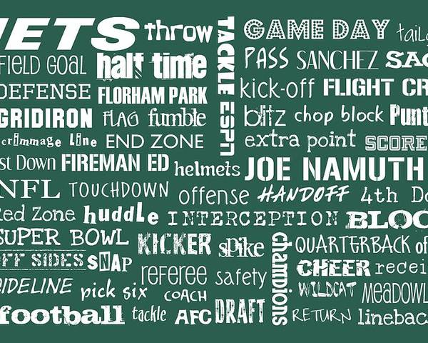 New York Poster featuring the digital art New York Jets by Jaime Friedman