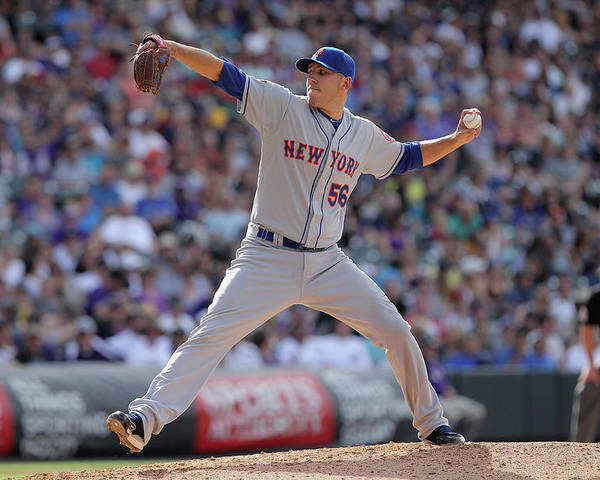 Relief Pitcher Poster featuring the photograph New York Mets V Colorado Rockies by Doug Pensinger