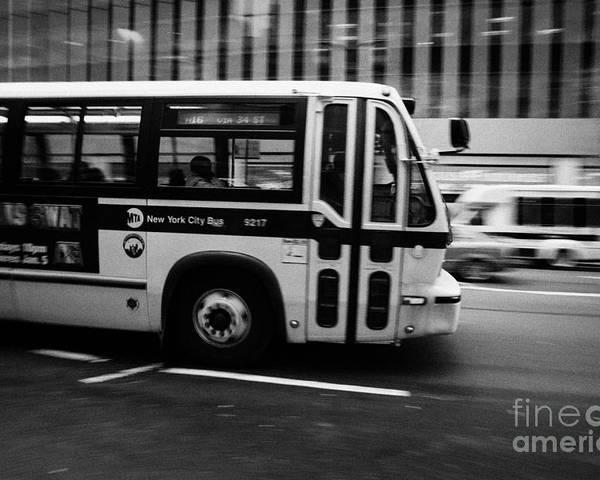 Usa Poster featuring the photograph New York Mta City Bus Speeding Along 34th Street Usa by Joe Fox