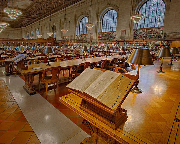 The New York Public Library Poster featuring the photograph New York Public Library Rose Main Reading Room by Susan Candelario