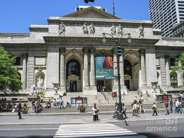 Ny Library Poster featuring the photograph New York Public Library by Zbigniew Krol