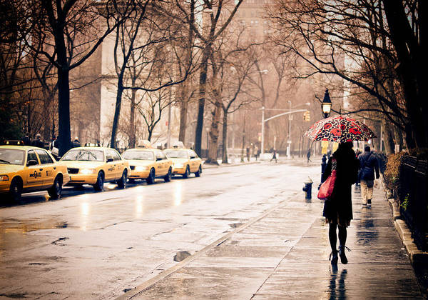New York City Poster featuring the photograph New York Rain - Greenwich Village by Vivienne Gucwa