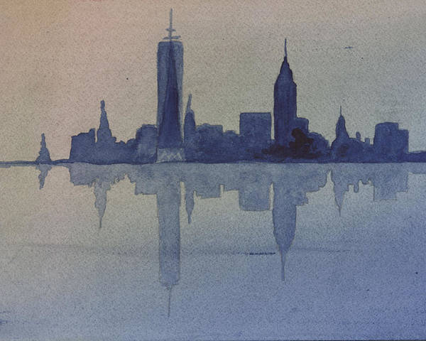 Nyc Poster featuring the painting New York Skyline by Donna Walsh