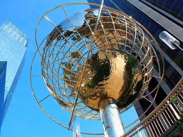 Nyc Poster featuring the photograph New York Steel Globe by Jenny Hudson