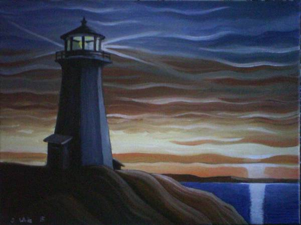 Lighthouse Poster featuring the painting Newfoundland Lighthouse by Scott White