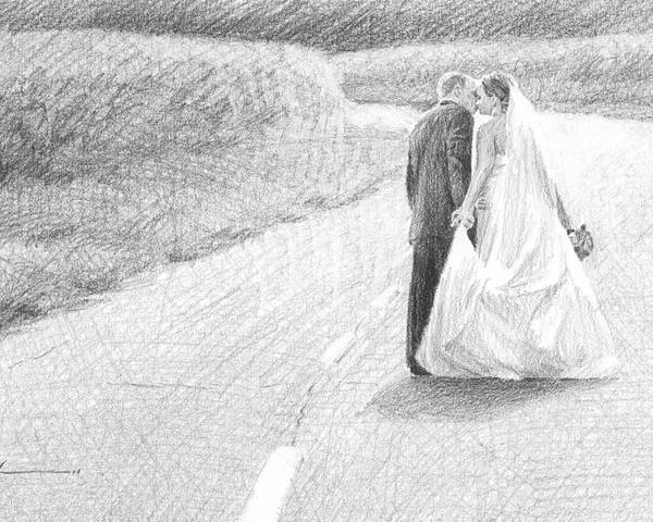 <a Href=http://miketheuer.com Target =_blank>www.miketheuer.com</a> Poster featuring the drawing Newlyweds Walking Kissing Pencil Portrait by Mike Theuer