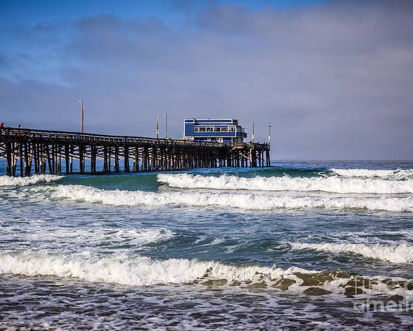 America Poster featuring the photograph Newport Beach Pier In Orange County California by Paul Velgos
