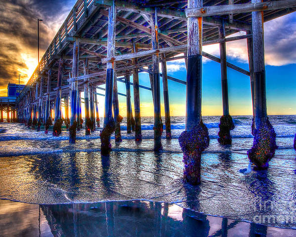 Pier Poster featuring the photograph Newport Beach Pier - Low Tide by Jim Carrell