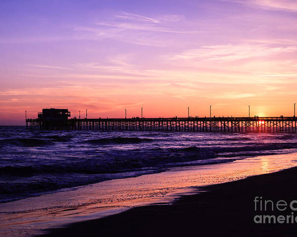 America Poster featuring the photograph Newport Beach Pier Sunset In Orange County California by Paul Velgos