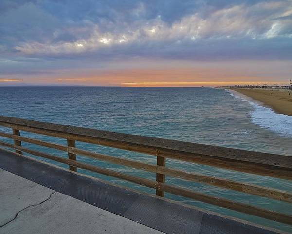Newport Beach Poster featuring the photograph Newport Beach Sunset On Balboa Pier by David Knowles