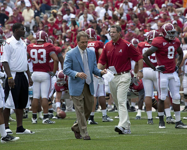 Nick Saban Poster featuring the photograph Nick Saban And The Tide by Mountain Dreams