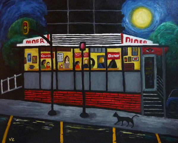 Diner Poster featuring the painting Night At An Arlington Diner by Victoria Lakes