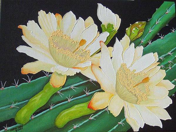 Acrylic Poster featuring the painting Night Blooming Cacti by Carol Sabo