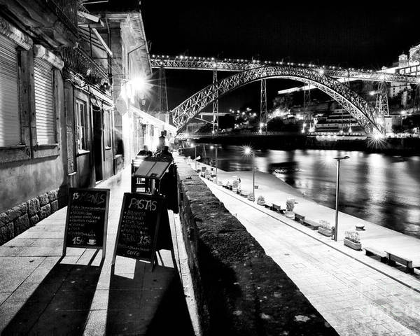 Night Dining In Porto Poster featuring the photograph Night Dining In Porto by John Rizzuto