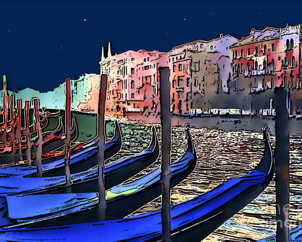 Impressionism Poster featuring the photograph Night Falls In Venice by Linda Parker