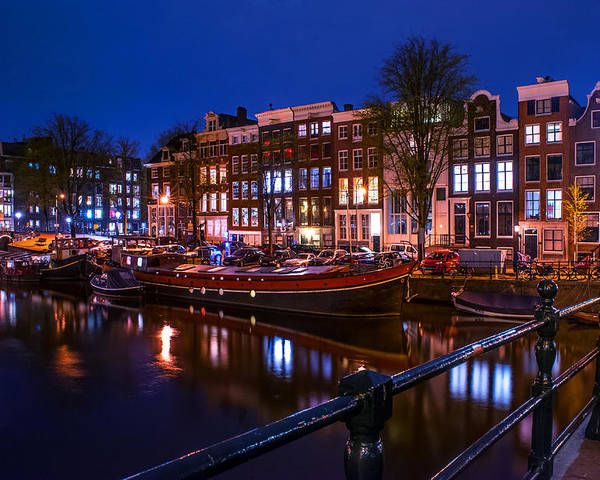 Amsterdam Poster featuring the photograph Night Lights On The Amsterdam Canals. Holland by Jenny Rainbow