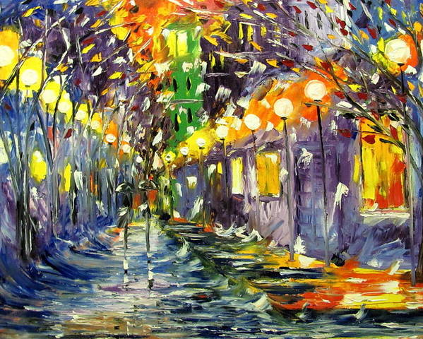 Rain Poster featuring the painting Night by Mariana Stauffer