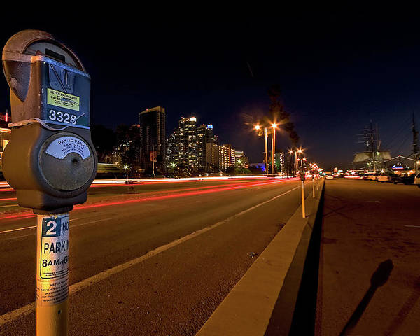 San Diego Poster featuring the photograph Night Parking Meter by Peter Tellone
