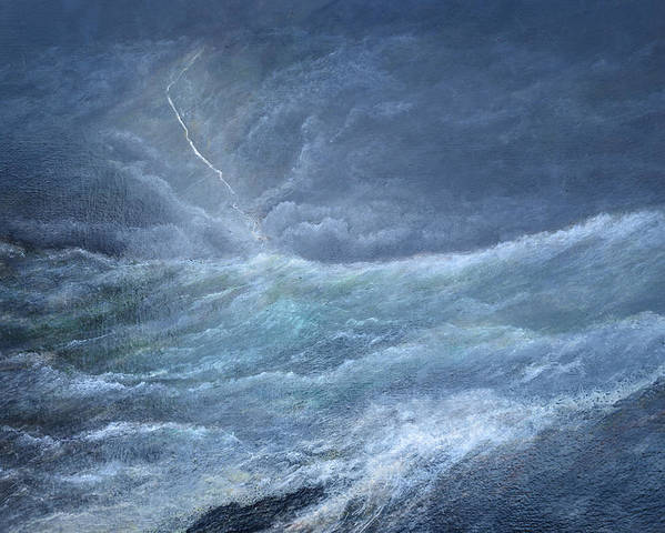 Seascape Storm Waves Lighttning Poster featuring the painting Night Storm by Paul Rowe