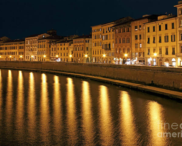 Town Poster featuring the photograph Night View Of River Arno Bank In Pisa by Kiril Stanchev