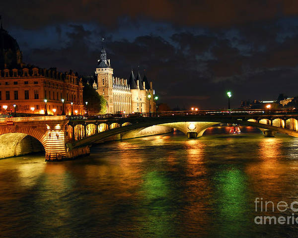 Architecture Poster featuring the photograph Nighttime Paris by Elena Elisseeva