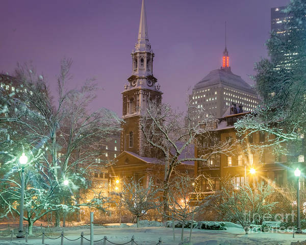 Back Bay Poster featuring the photograph Nighttime Snowstorm In Boston by Susan Cole Kelly