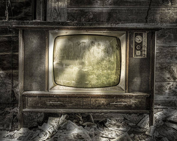 Vintage Poster featuring the photograph No One's Watching - Vintage Television In An Old Barn by Gary Heller