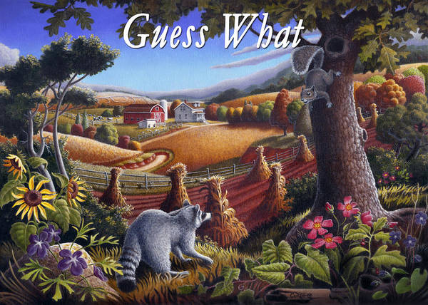 Friends Poster featuring the painting no6 Guess What by Walt Curlee