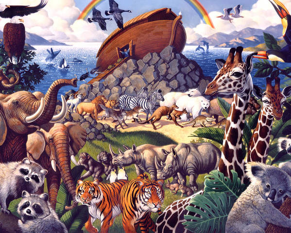 Biblical Poster featuring the painting Noah's Ark by Mia Tavonatti