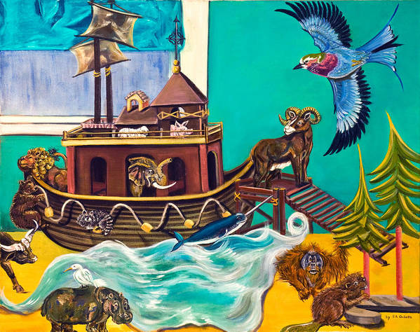 Susan Culver Fine Art Prints Poster featuring the painting Noah's Ark Second Voyage by Susan Culver