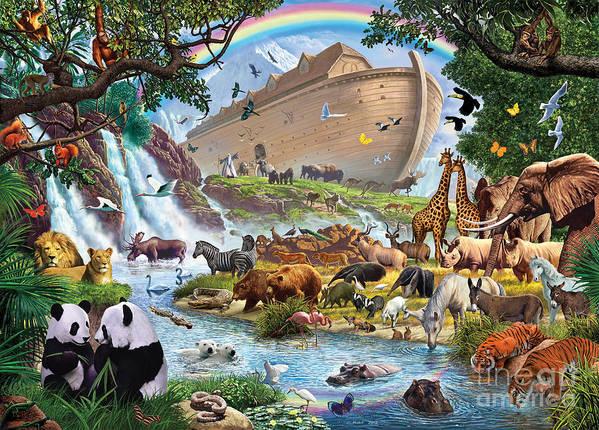 Animal Poster featuring the digital art Noahs Ark - The Homecoming by Steve Crisp