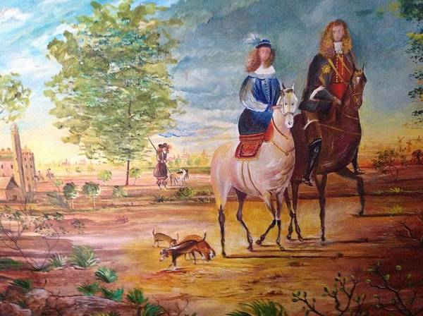 Landscape With A Noble Knight And A Lady On Horse Back With Dogs On A Poster featuring the painting Nobel Knight And Lady by Egidio Graziani