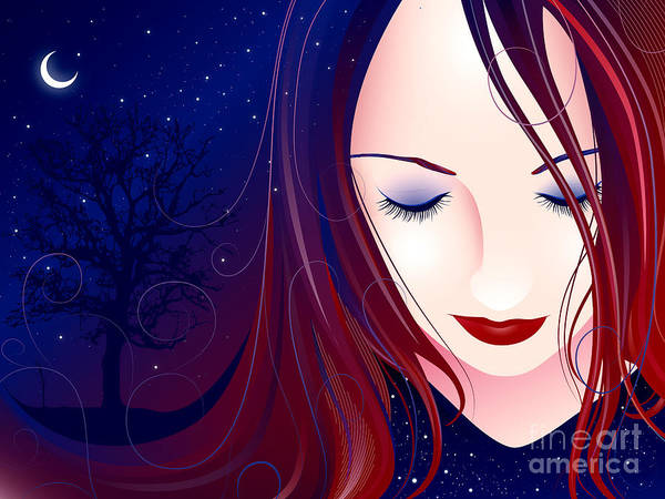 Woman Poster featuring the digital art Nocturn II by Sandra Hoefer