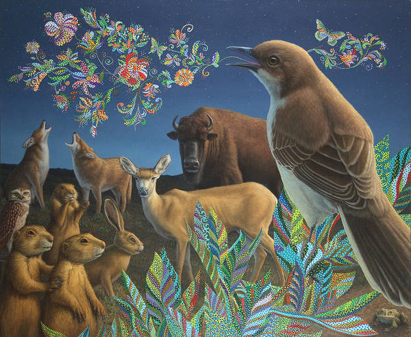Mockingbird Poster featuring the painting Nocturnal Cantata by James W Johnson