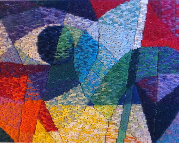 Abstract Expressionist Needlepoint Poster featuring the tapestry - textile Nocturne 1 by Diane Fine