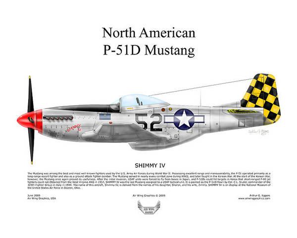 North American Poster featuring the digital art North American P-51d Shimmy Iv by Arthur Eggers