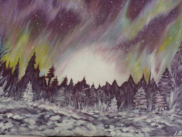 Winter Poster featuring the painting Northern Lights by Irina Astley