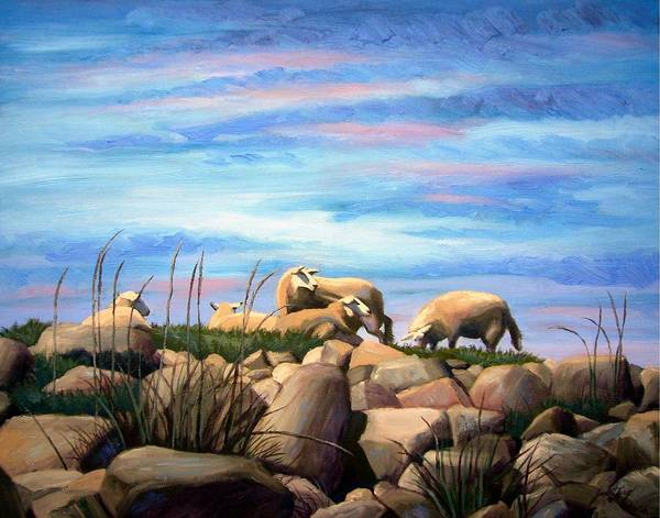 Sheep Poster featuring the painting Norwegian Sheep by Janet King