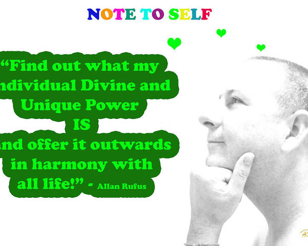 Inspirational Poster featuring the mixed media Note To Self Unique Power by Allan Rufus