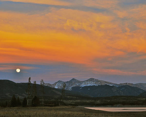 Landscape Poster featuring the photograph November Moonrise by Bob Berwyn