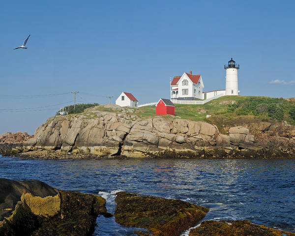 Nubble Lighthouse Poster featuring the photograph Nubble In The Day 16x20 by Geoffrey Bolte