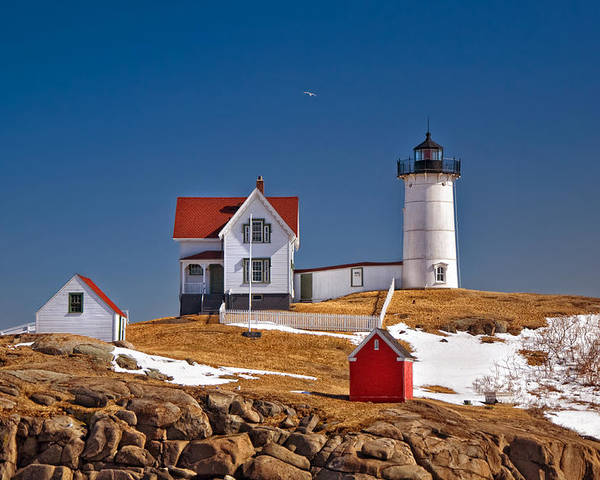 Water Poster featuring the photograph Nubble Lighthouse 3 by Joann Vitali
