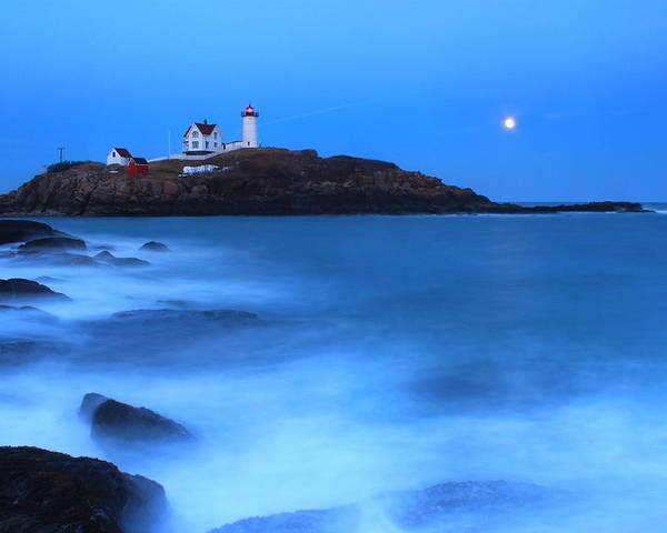 Lighthouse Poster featuring the photograph Nubble Lighthouse Full Moon Tide by John Burk