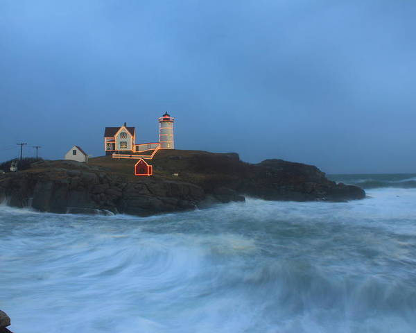 Maine Lighthouse Poster featuring the photograph Nubble Lighthouse High Surf And Holiday Lights by John Burk