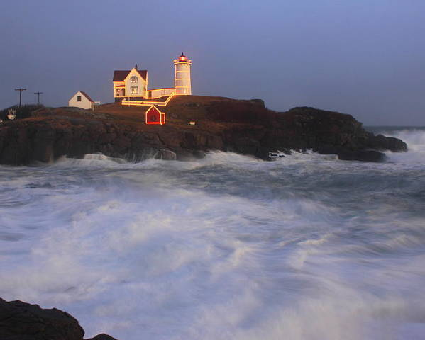 Maine Poster featuring the photograph Nubble Lighthouse Holiday Lights And High Surf by John Burk
