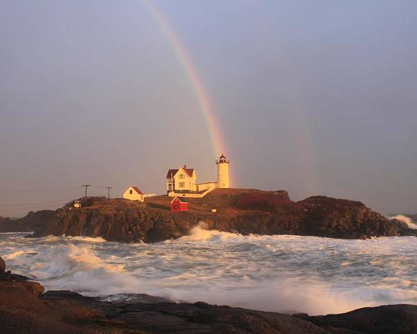 Lighthouse Poster featuring the photograph Nubble Lighthouse Rainbow And High Surf by John Burk