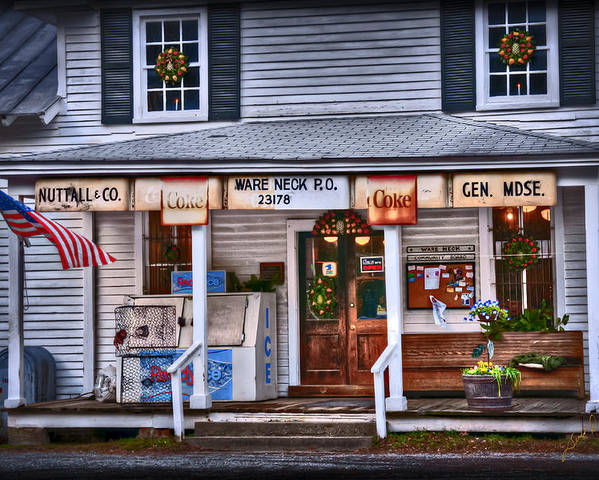 Americana General Store Post Office Virginia Gloucester Ware Neck Country Store Poster featuring the photograph Nuttall And Company General Merchandise by Williams-Cairns Photography LLC