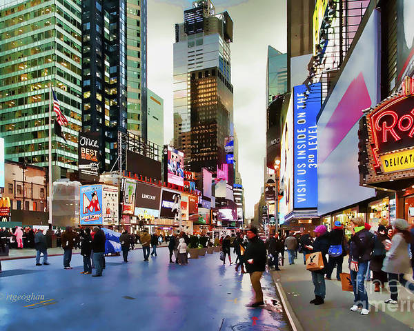 New York City Poster featuring the photograph Ny Times Square Impressions I by Regina Geoghan