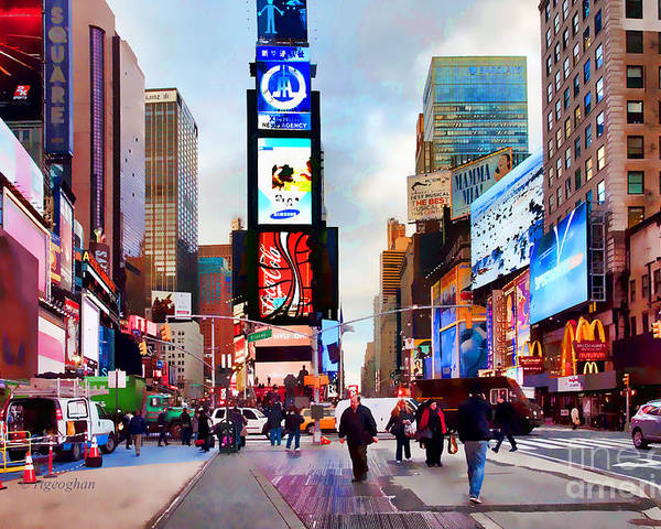 New York City Poster featuring the photograph Ny Times Square Impressions IIi by Regina Geoghan